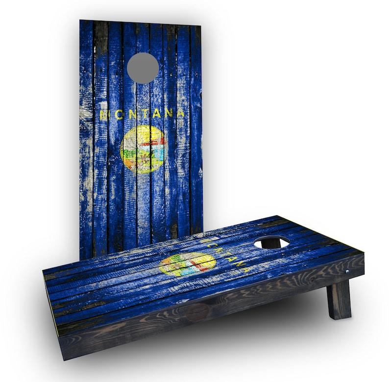 Montana Themed Worn  Distressed Wood Slat State Flag Themed Custom Cornhole Board Game Set