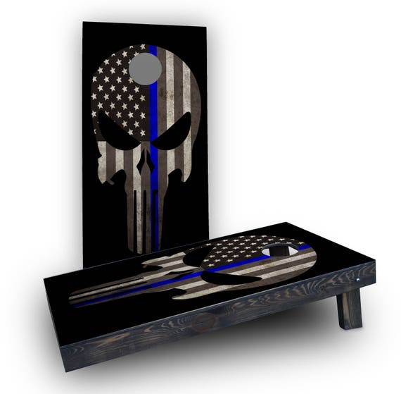 Bean Bag Toss Game Thin Blue Line Punisher Corn Hole Boards