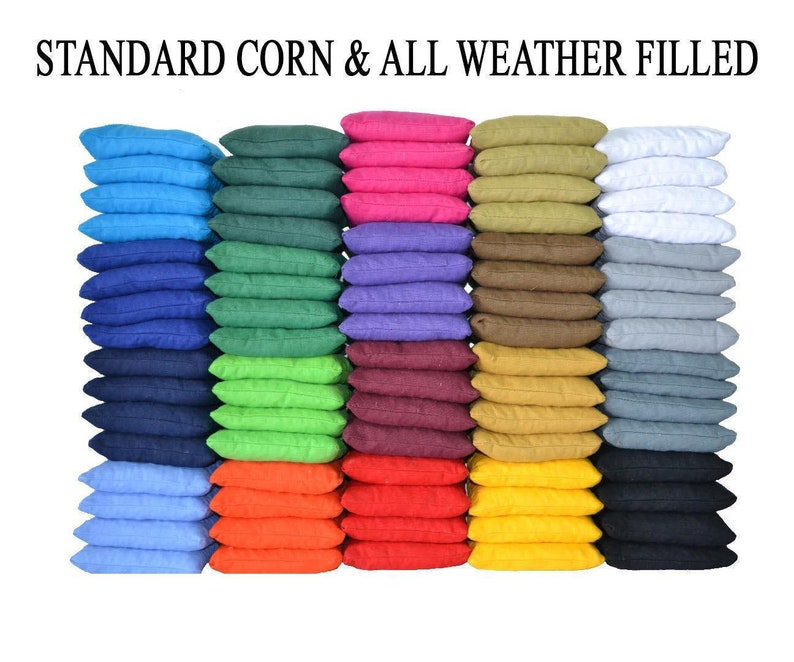 Corn or All Weather ACA /& ACO Certified Made In USA Free FedEx 2nd Day Air Shipping Orange and Royal Blue Cornhole Bags