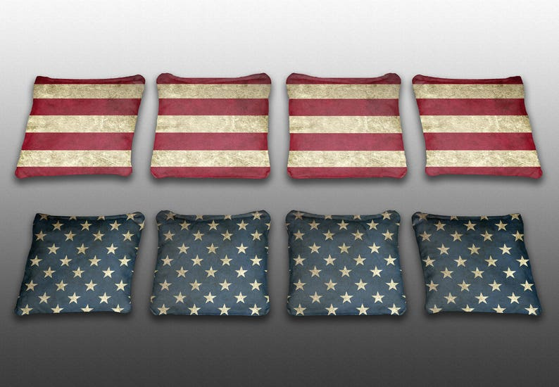 Made in the USA Stars and Stripes Themed Custom Cornhole Bags Set of 8 Corn or All Weather Plastic Resin Filled