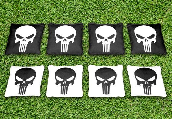 USA 8 Embroidered Custom Punisher Skull Cornhole//Bean Bags~Triple Stitched