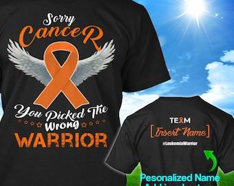 245bc7a9ed Personalized Leukemia Kidney Cancer Awareness Tshirt Orange Ribbon Warrior  Support Survivor Custom T-shirt Unisex Women Youth Kids Tee