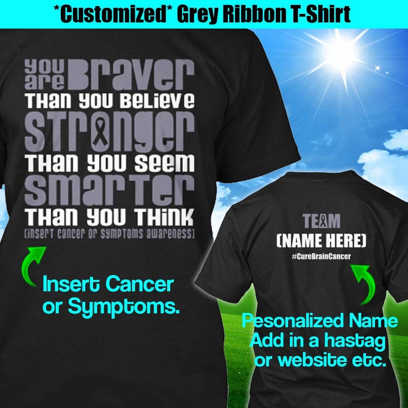 Brain Cancer Just Fight It  Unisex Youth Shirts T-Shirt Tee