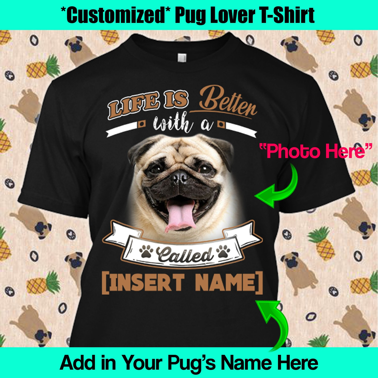 88816114 Personalized Pug Shirt Life is Better Custom Dog Lover Puppy | Etsy