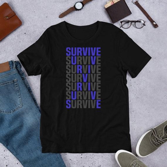 Colon Cancer Awareness Tshirt Dark Blue Navy Ribbon Survive Etsy