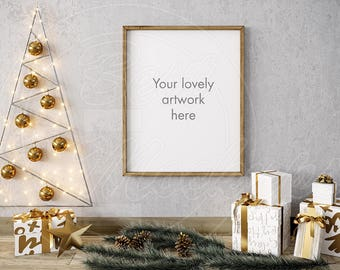 Download Free Merry CHRISTMAS mockup, 8x10 frame mock ups, Wood frame mockup, Holiday gifts decor, Styled stock photo, Scene mock up, Mockups design, PSD PSD Template