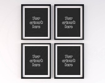 Download Free Simple mock ups, Black frame mockup, Matted frame, 8x10 mockup, Set of 4 frame mockup, Styled stock photo, Clean backgroung, Artwork display PSD Template