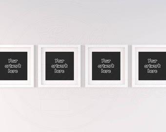 Download Free Square frame mockup, Set of four frame, 4 mockup, White frame mockup, Instant download mockup, Handing frame, Mockup template, Wall mock up PSD Template