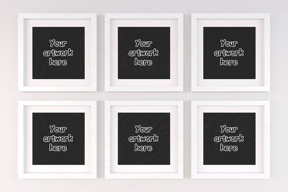 Set of six frame Square frame mockup 6 mockup White frame | Etsy