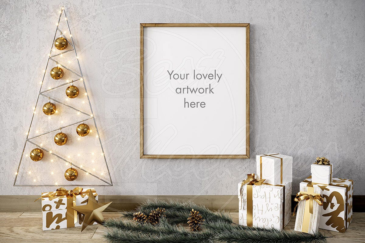 Merry CHRISTMAS mockup 8x10 frame mock ups Wood frame   Etsy