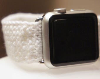 Artisanal Knitted Apple Watch Band (38mm, 42 mm). Cotton yarn. Handmade, unique. Good for sleep.