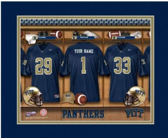 813f9c8cc53 Pitt Panthers Personalized Locker Room Print Framed NCAA