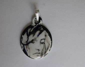 Acrylic Hand Painted Pendant - Woman's Face