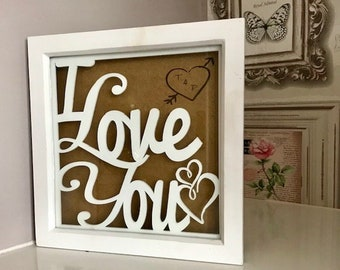 Personalised I LOVE YOU Shabby Chic Box Frame.  Valentines Gift for Her, Gift for Lovers, Anniversary Gift, Laser Engraved
