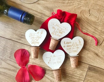 Novelty Personalised Wooden Wine Bottle Stopper, Cork Bottle Stopper, Valentines, Gift for Her, Gift for Him, 5th Anniversary, Birthday