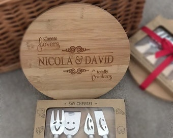 BAMBOO CHEESE BOARD and 4 Piece Smiley Cheese Set.  Laser Engraved, Personalised. Wedding, Anniversary, Christmas, Birthday, House Warming