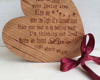 Engraved song lyrics etsy solid cherrywood our song heart personalised lyric engraved keepsake unique gift for valentines wedding anniversary stopboris Images