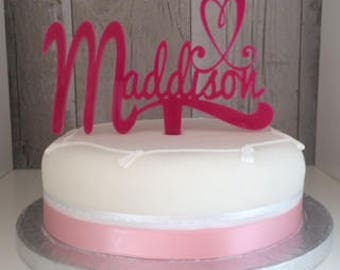 ACRYLIC CAKE TOPPER perfect for any occasion! Custom made perfect for Birthdays, Weddings, Anniversaries, New Baby!
