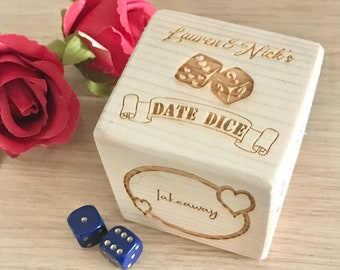 Large Personalised Date Dice, Gift for Couples, Gift For Her, Gift For Him, 5th Anniversary Gift, Valentines