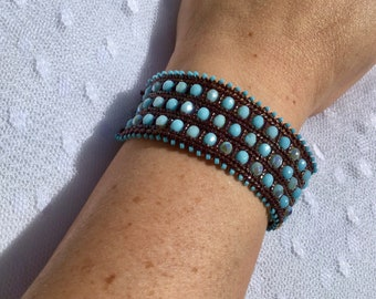 Ande chocolate and blue bracelet