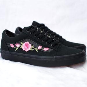 Vans Old Skool Custom White Big Rose Patch All Sizes | Etsy