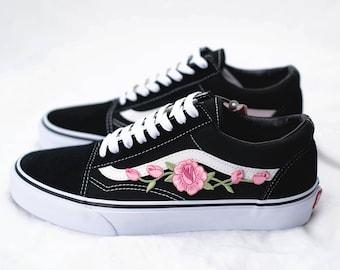 vans fleurs roses