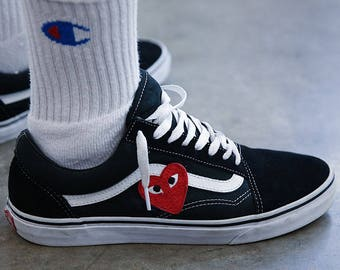 Vans Old Skool Custom - CDG 'Heart Patch' - EUR 34.5 - 47 Unisex - Rosen Stickerei Sk8 Hi Sneaker Tommy Hilfiger Comme des Garcons Gucci
