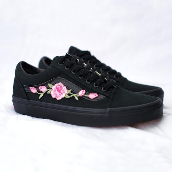 Vans Old Skool Custom Black - Rosa Rose Patch - All Sizes - Unisex - Sneaker Shoes [Embroidery Sk8 Hi Nike Air Force Lv Roses Flowers]