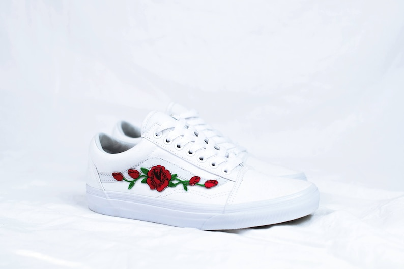 b094e43f7297f Vans Old Skool Custom White - Rose Patch - All Sizes - Unisex - Sneaker  Shoes [Embroidery Sk8 Hi Nike Air Force Lv Roses Flowers]