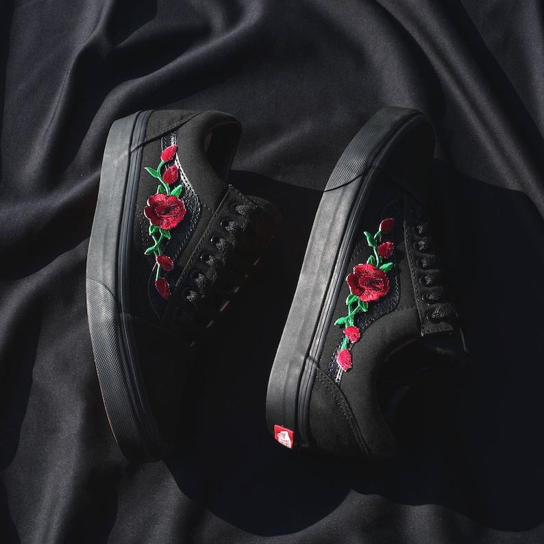 Vans Old Skool Custom Black Rose Patch Tutte le taglie lh2jMGDi
