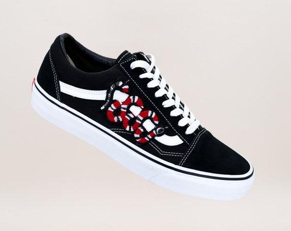 Vans Old Skool Custom ' SNAKE ' alle maten Unisex sneaker patch schoenen [borduurwerk Sk8 Hi Nike Air Force LV Roses bloemen]