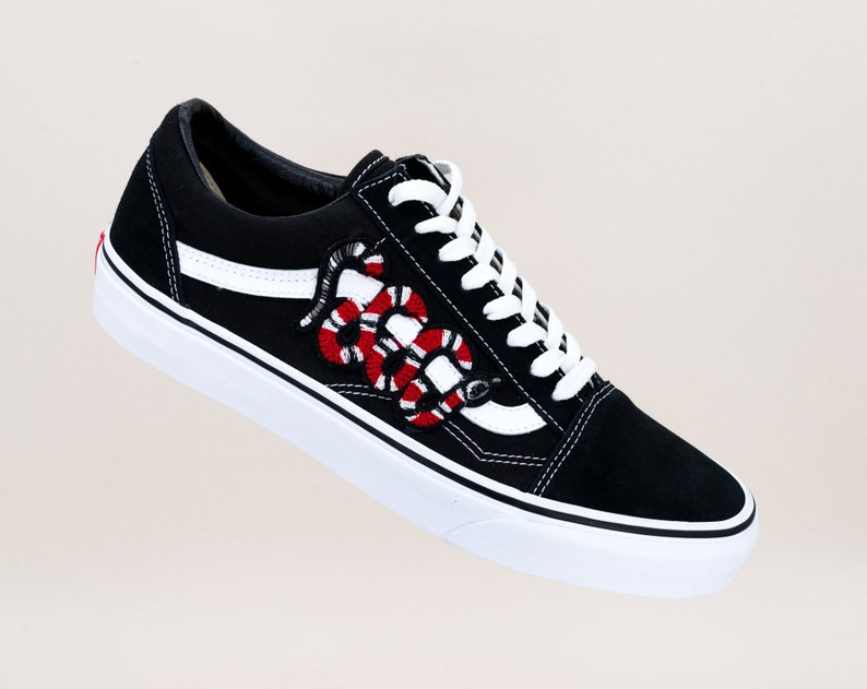 7f123cb116e5d Vans Old Skool Custom - 'SNAKE' - All Sizes - Unisex - Sneaker Patch Shoes  [Embroidery Sk8 Hi Nike Air Force Lv Roses Flowers]