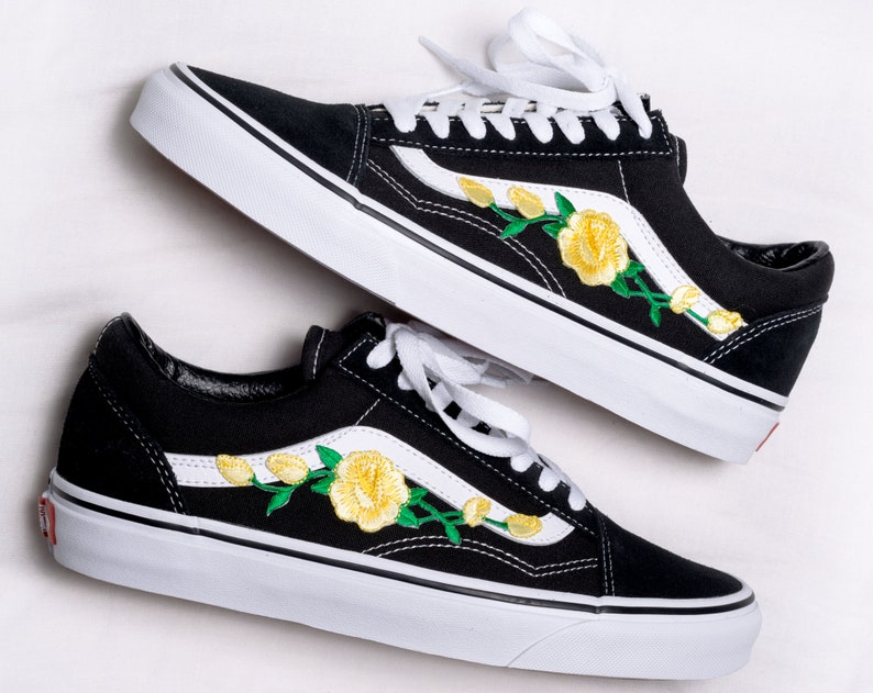 ec855e6706ce2 Vans Old Skool Custom - Yellow Rose Patch - All Sizes - Unisex - Sneaker  Shoes [Embroidery Sk8 Hi Nike Air Force Lv Roses Flowers]