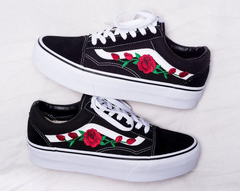 df6dd5a0b2766 Vans Old Skool Platform Custom - Rose Patch - All Sizes - Unisex - Sneaker  Shoes [Embroidery Sk8 Hi Nike Air Force Lv Roses Flowers]
