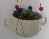 hanging planter plant pot macrame cactus teacup holder plant container indoor plant wall hanging succulents