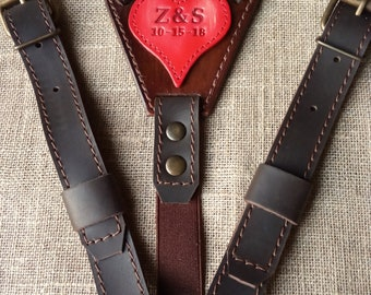 Leather suspenders for groom Personalized leather suspenders Wedding suspenders with initials Wedding Handmade Suspenders width 1