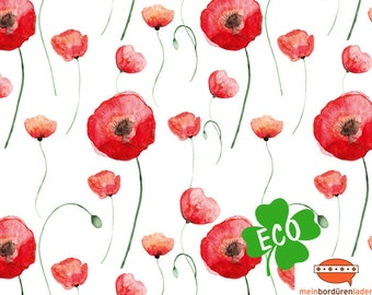 ECO border: poppies - by watercolour   sustainable fleece border with red poppy, basic price 5.89 Euro/meter