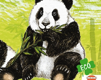 ECO Border XXL : Panda Bears in the Bamboo Forest   hand-painted motifs, wall border suitable for allergy sufferers, base price 6.43 Euro/meter