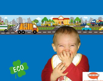 ECO Children's border: Vehicles in the city   Eco-friendly borders for children with garbage truck, street sweeper, basic price 5.36 Euro/meter