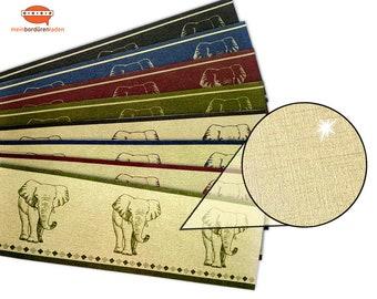 Gold Metallic - Nonwoven border: Elephant   Vinyl fleece border with noble metallic - effect   Base price 6.45 Euro/meter