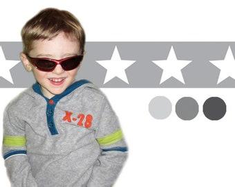 self-adhesive children's room border: stars - grey   Fleece border with large stars in grey tones, basic price 5.36 Euro/meter