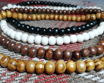 Wooden beaded necklace 8mm beads Choose your colour and size Round wooden beads For men women Natural jewelry Boho surfer hippie festival