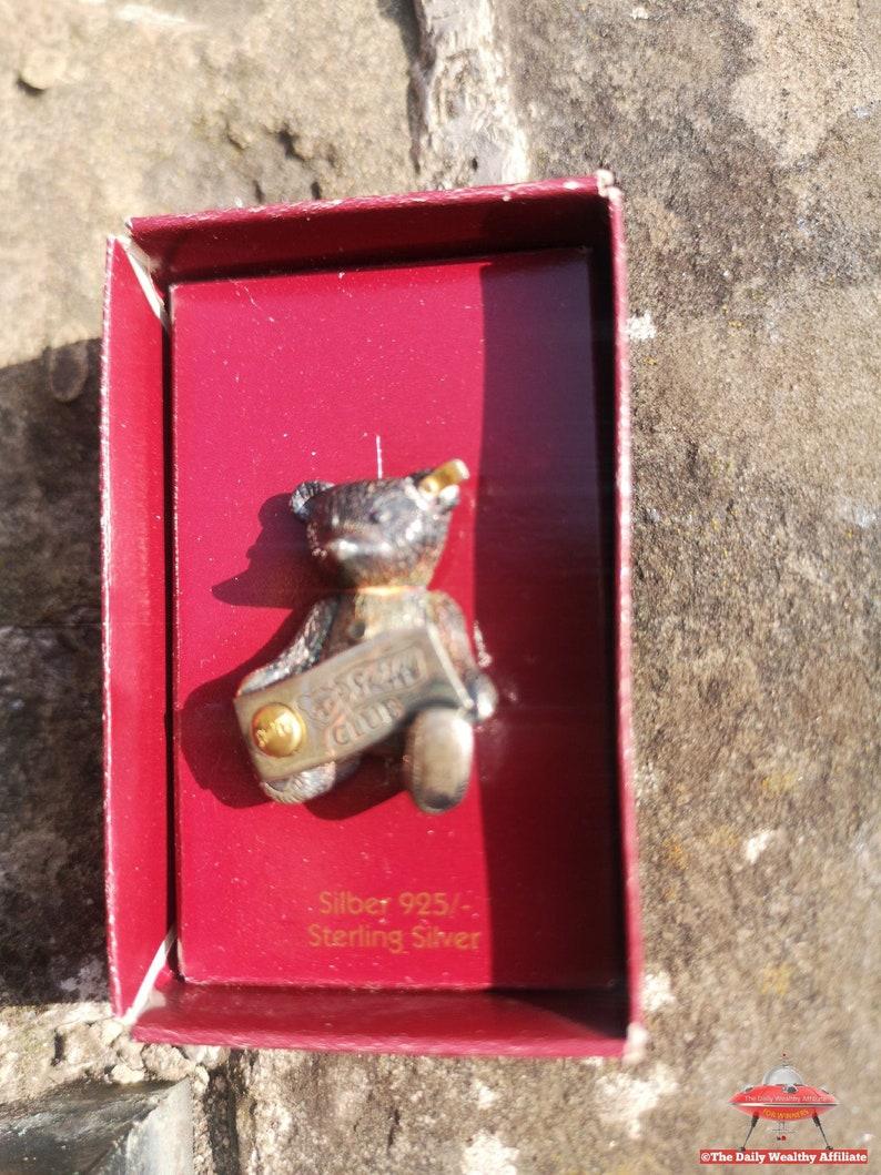 Steiff 1993 Club Brooch 925 Silver Teddy Bear Pin Badge Boxed Vintage RARE