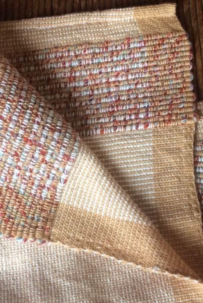 Hand Spun Recycled Thread Tea Towel- Honey Tones - Limited supply