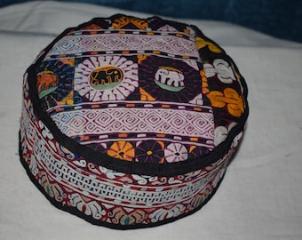 5acee4168b83c Elephant patterned handmade hat Vintage hat big hat embroidery hat Prayer hat  Sun hat Bohamian hat Decorative hat Ethnic hat Kilim hat Ag-60