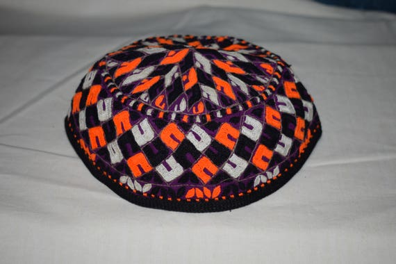 Purple orange hat Embroidery hat Ethnic hat Small