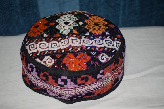 Multi color hat Ethnic hat Vintage hat Embroidery