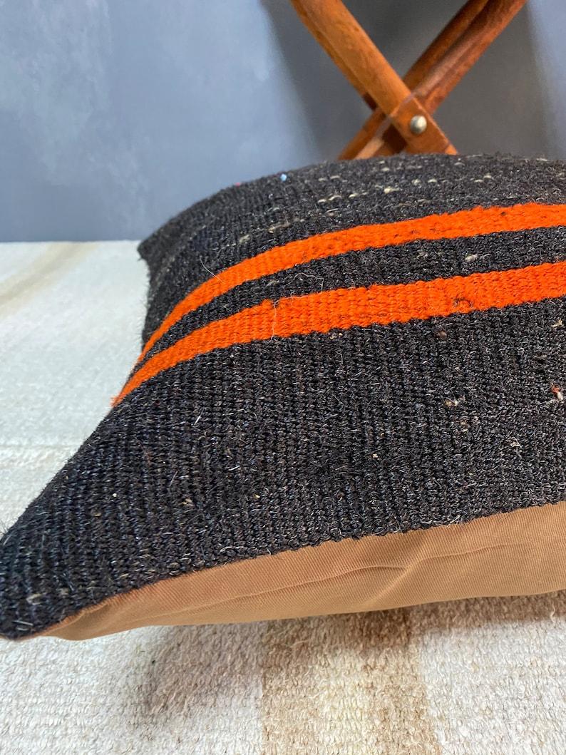 Black orange color kilim pillow,handwoven kilim pillow,