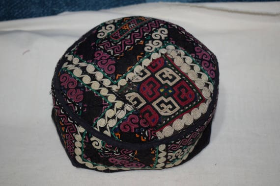 Black hat Ethnic hat Vintage hat Embroidery handma