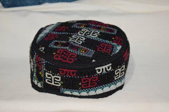 Black hat Ethnic hat Vintage hat Handwoven Prayer
